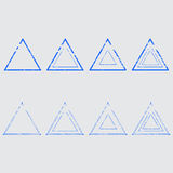 Set of empty triangular stamps Stock Image