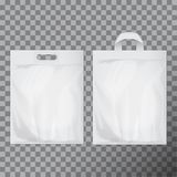Set of empty white blank plastic bag mock up . Consumer pack ready for logo design or identity presentation royalty free illustration