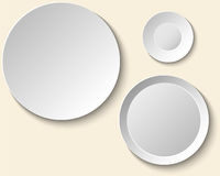 Set of empty white plates. Dish Wall template for decorative pattern. Royalty Free Stock Photos