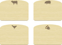 Set of empty wooden cutting boards  with animals Royalty Free Stock Photos