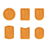 Set of empty wooden cutting boards Stock Image