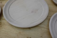 Empty wooden plates. Set of empty wooden plates Stock Photography