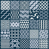 Set of  endless geometric patterns composed with different. Figures like rhombuses, squares and circles. Graphic ornamental tiles made in black and white colors Royalty Free Stock Images