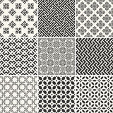 Set of endless monochrome simple patterns Royalty Free Stock Photography