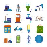 Set of energy and ecology flat icons. Collection of energy and ecology icons in flat style. Energy sources, ecology transport and objects in colorful symbols vector illustration