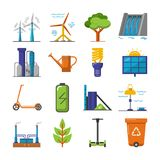 Set of energy and ecology flat icons. Collection of energy and ecology icons in flat style. Renewable energy sources, ecology transport and objects in colorful royalty free illustration