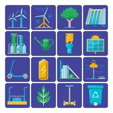 Set of energy and ecology flat icons. Collection of energy and ecology icons in flat style. Renewable energy sources, ecology transport and objects - colorful vector illustration