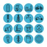 Set of energy and ecology line icons. Collection of energy and ecology icons in thin line style. Energy sources, ecology transport and objects in linear symbols vector illustration