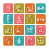 Set of energy and ecology line icons. Collection of energy and ecology icons in thin line style. Energy sources, ecology transport and objects in linear symbols stock illustration