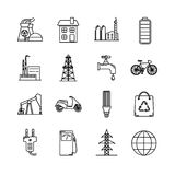 Set of energy and ecology line icons. Collection of energy and ecology icons in thin line style. Energy sources, ecology transport and objects in linear symbols royalty free illustration