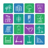 Set of energy and ecology line icons. Collection of energy and ecology square icons in thin line style. Renewable energy sources, ecology transport and objects vector illustration
