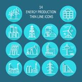 Set of energy and ecology line icons with long shadow. Collection of energy and ecology round icons in thin line style. Renewable energy sources, industrial vector illustration
