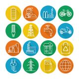Set of energy and ecology line icons with long shadow. Collection of energy and ecology round icons in thin line style. Energy sources, ecology transport and stock illustration