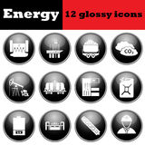 Set of energy glossy icons Stock Images