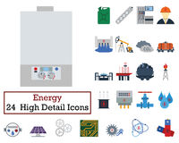 Set of 24 Energy Icons. Flat color design. Vector illustration Stock Image