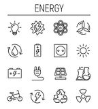 Set of energy icons in modern thin line style. Stock Image