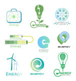 Set energy logos and emblems. Design elements and symbols of power plant, electricity, wind turbine, atom, ecology conservation. Vector energy logo on white vector illustration