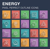Set of energy and power icons with long shadow. Royalty Free Stock Photos
