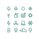 Set of energy sources line icons. Vector alternative energy pictograms. Design template Royalty Free Stock Photos