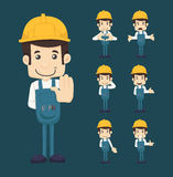 Set of engineer characters poses Stock Photography