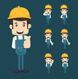 Set of engineer characters poses Royalty Free Stock Photography
