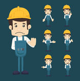 Set of engineer characters poses Stock Photos