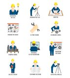 Set of engineer icons Stock Photos