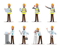 Set of engineer man watching and checking details on a construction site. Flat character design. vector illustration Stock Image
