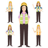 Set of engineer women. Civil engineer, architect and construction workers characters group. Cool  flat design construction team characters line-up. Group of Royalty Free Stock Photo