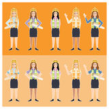 Set of engineer women. Civil engineer, architect and construction workers characters group. Cool vector flat design construction team characters line-up. Group Royalty Free Stock Images
