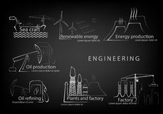 Set engineering engineering in production and citizenship Royalty Free Stock Photo