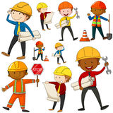 Set of engineers and construction workers Stock Photos