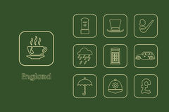 Set of England simple icons Stock Photos