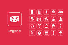 Set of England simple icons Royalty Free Stock Photo