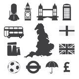 Set of England Symbol Icons Royalty Free Stock Images