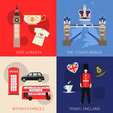 Set of England travel compositions with place for text. Visit London, The Tower Bridge, Britain Symbols, Travel England Stock Image