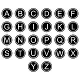 English alphabet letters symbols icons signs simple black and white colored set. A set of English alphabet letter icons,  flat, black and white mostly black Royalty Free Stock Images