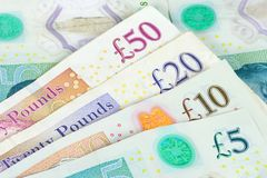 Set of english pounds banknotes stock photography