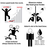 Set of English proverbs. A bad workman always blames his tools. Absence makes the heart grow fonder. Actions speak louder than words. Adam's ale is the best Stock Photography