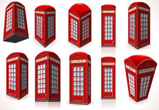 Set of English Red Telephone Cabin Stock Photography