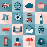 Set of English travel icons Royalty Free Stock Photos