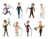 Set of english victorian gentlemen. Characters in dynamic poses royalty free illustration