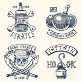 Set of engraved, hand drawn, old, labels or badges for corsairs, bottle of rum and bone, bomb, skull with sabers, hook Stock Images