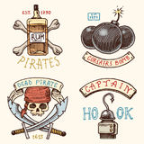 Set of engraved, hand drawn, old, labels or badges for corsairs, bottle of rum and bone, bomb, skull with sabers, hook Stock Photo