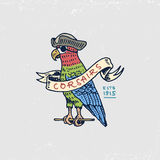Set of engraved, hand drawn, old, labels or badges for corsairs, Caribbean parrot. Pirates marine and nautical or sea. Ocean emblem Royalty Free Stock Photography