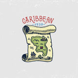 Set of engraved, hand drawn, old, labels or badges for corsairs, map to treasure, Caribbean island. Pirates marine and royalty free illustration