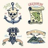 Set of engraved, hand drawn, old, labels or badges for corsairs, skull at anchor, map to treasure, black beard Royalty Free Stock Image