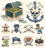 Set of engraved, hand drawn, old, labels or badges for corsairs, skull at anchor, treasures, flag , Caribbean parrot Royalty Free Stock Photography