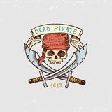 Set of engraved, hand drawn, old, labels or badges for corsairs, skull with sabers. Pirates marine and nautical or Stock Images