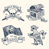 Set of engraved, hand drawn, old, labels or badges for corsairs, skull with swords, chest with gold, flag, parrot. Jolly Stock Photography